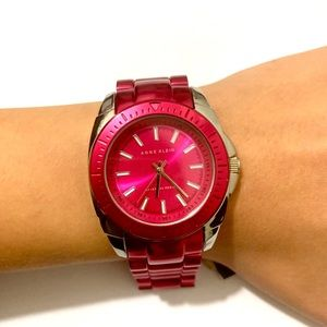 NEW Anne Klein Dark Pink Watch 34mm